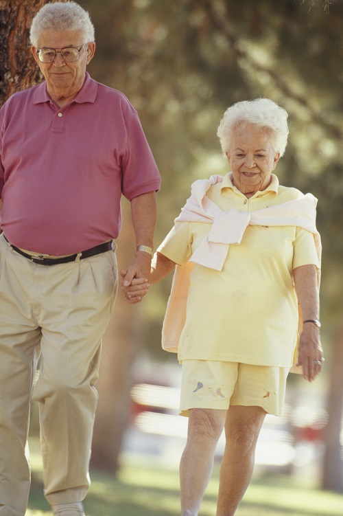 Senior couple walking side by side in park